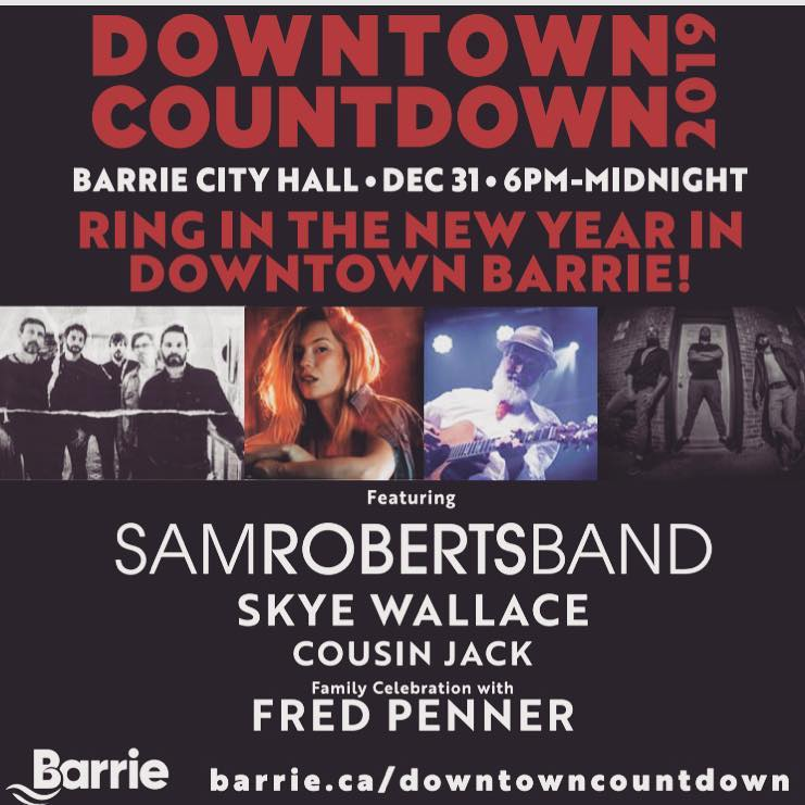 The line-up for a free New Year's celebration in Barrie