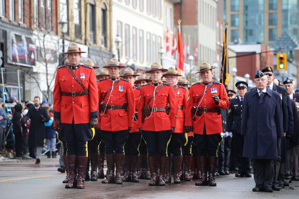 Royal Canadian Mounted Police at Remembrance Day Ceremony at Memorial Square in Barrie 2018