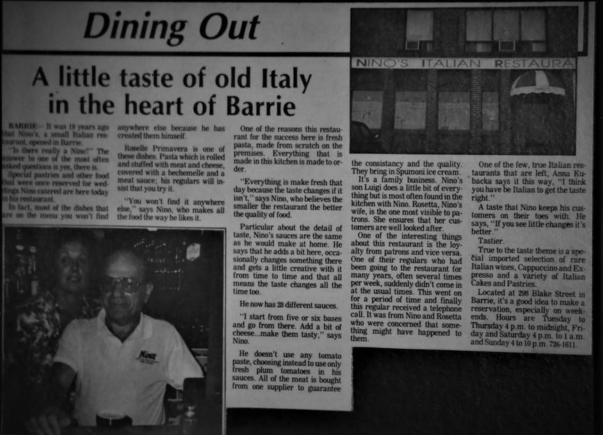 Nino's Restaurant in Barrie