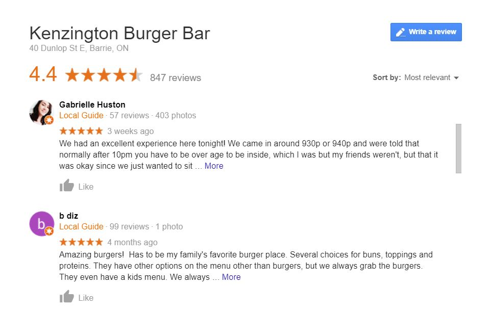 google reviews of Kenzington Burger Bar