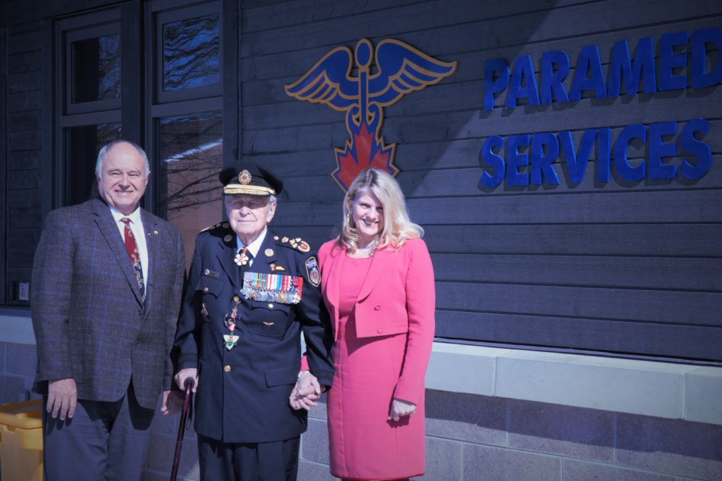 – County of Simcoe Warden George Cornell was joined by Collingwood Mayor Brian Saunderson, Honourary Lieutenant General Richard Rohmer and representatives from County of Simcoe Paramedic Services