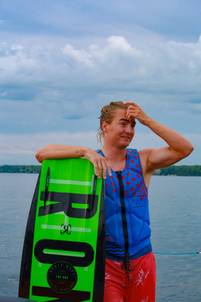 Pro Wakeboarder Christian Primrose after a session with Flawless Wakes, before heading to the Pan Am Games.