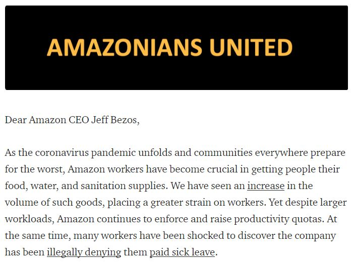 Thousands of Amazon employees from around the world signed a petition asking for things like; expanded paid sick leave, childcare benefits, hazard pay and for the company to temporary close facilities where workers test positive for Covid-19.