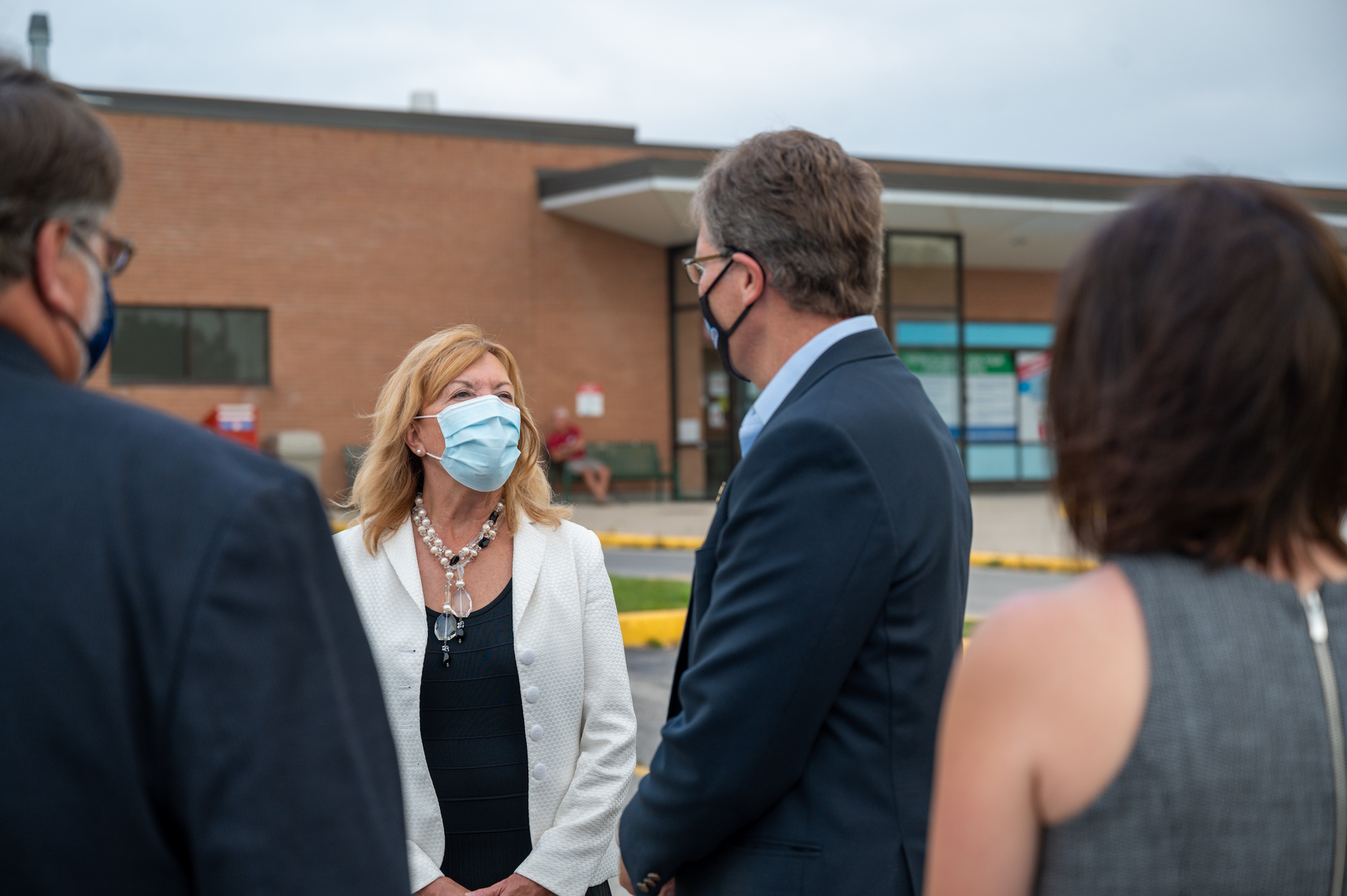 Health Minister Christine Elliott announces redevelopment of Colling Marine and General Hospital.